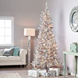 Tinsil Silver 7 Ft Artificial Christmas Tree 350 Clear Lights / Stand Retro