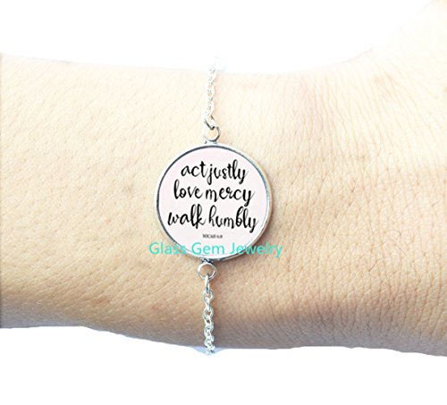 6:8 Act Justly Love Mercy Walk Humbly cameo Photo Cabochon Bracelet bible quote jewelry ,Q0230