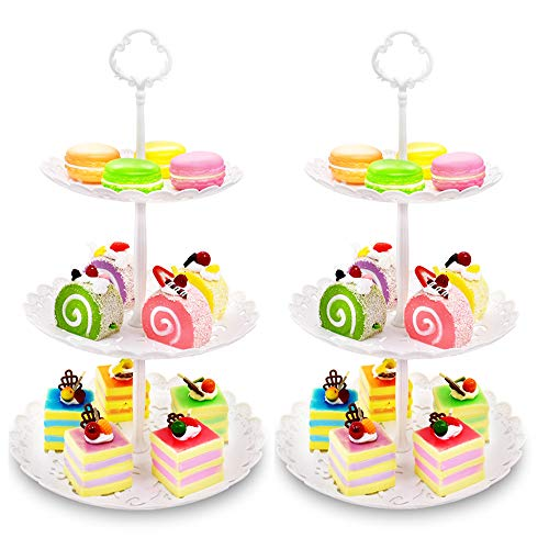 (Two Pack of Three Tier Cake Stand and Fruit Plate by Imillet - Plastic Stand of White for Cakes Desserts Fruits Dried Fruit Candy Buffet Stand for Wedding & Home)