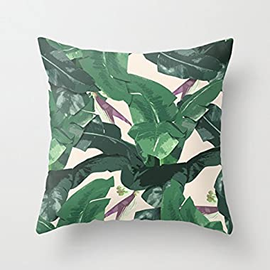 Banana Leaf Pattern Square Throw Pillow Covers with Zip Accent Pillows 18 x 18