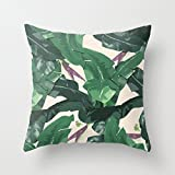avimoDi Banana Leaf Pattern Square Throw Pillow Covers with Zip Accent Pillows 18 x 18