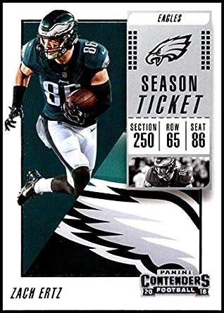 e6561e73c68 2018 Panini Contenders Season Tickets Football  100 Zach Ertz Philadelphia  Eagles Official NFL Trading Card