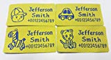Custom Woven Name Tapes Pre-cut Sew-on Labels Woven Tags for School / Camp / Care Home 4 Motifs per Set (56pcs/Set, for boy(little boy, tiger, ponny, car), yellow with blue words)