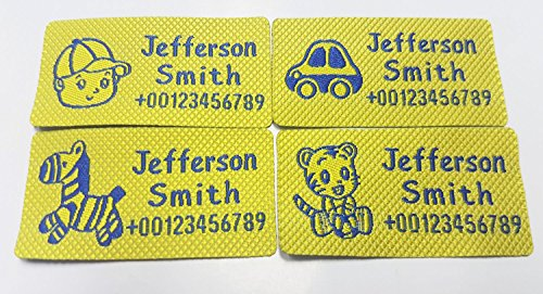 Custom Woven Name Tapes Pre-cut Sew-on Labels Woven Tags for School / Camp / Care Home 4 Motifs per Set (56pcs/Set, for boy(little boy, tiger, ponny, car), yellow with blue words) by Phoebusyyy