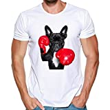 Zulmaliu Men's Tee Shirt Boxing Bulldog Print Blouse Cool Vest Humor Tank Top (White, L)