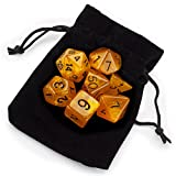 7 Die Polyhedral Dice Set - Dwarven Brandy (Orange Glitter) with Velvet Pouch by Wiz Dice