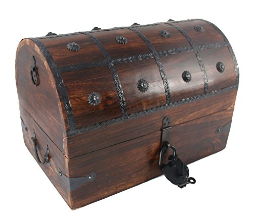 WellPackBox Wooden Pirate Treasure Chest Box With Antique Style Lock And Skeleton Key (Big Treasure Chest)