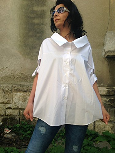 White Minimalist/Assymetrical Lagenlook Blouse/ Womens Extravagant Top