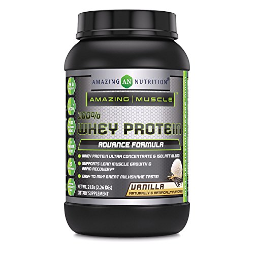 Amazing Muscle 100% Whey Protein Powder *Advanced Formula With Whey Protein Isolate as a Primary Ingredient along with Ultra Filtered Whey Protein Concentrate (Vanilla, 2 lb)