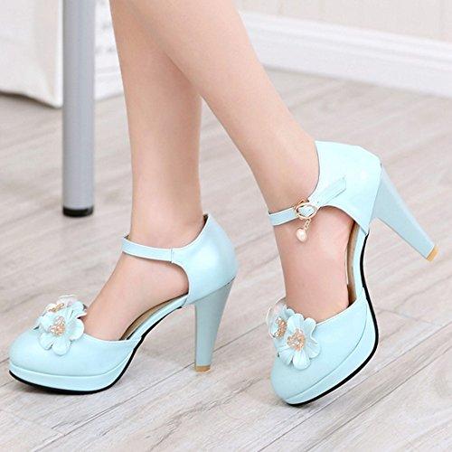 FANIMILA Mujer Elegant Ankle Strap Hebilla Flor Pearl Tacon Ancho Alto Sandalias Azul
