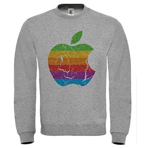Logo 70 Music Melange Vintage Stile Felpa Retro Grigio Mela Doctor Shirt Anni Apple xFwcHBqSwY