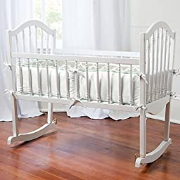 Carousel Designs French Gray and Mint Quatrefoil Cradle Bumper
