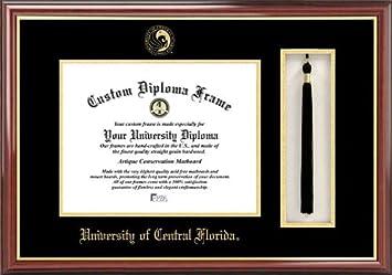 university of central florida knights embossed seal tassel box mahogany diploma frame
