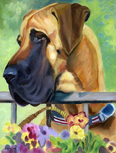 Caroline's Treasures 7311CHF Great Dane Natural Ears Fawn in Flowers Flag Canvas, Large, Multicolor