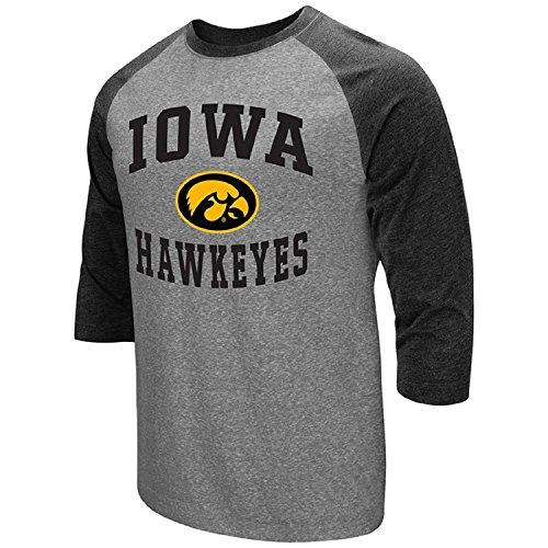Colosseum Men's NCAA-Raglan-3/4 Sleeve-Heathered-Baseball T-Shirt-Iowa Hawkeyes-XXL