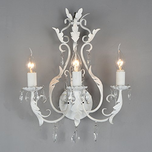 Docheer Rustic Iron Crystal Wall Chandelier Lamp Candle Holder Sconce 3 Lights Shabby Chic Elegant Decorative Metal Vintage Style Decorative Home Accent Decoration (White)