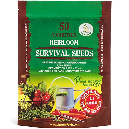 eeds Non GMO Survival Seed Kit - Part of Our Legacy and Heritage - 50 Varieties 100% Naturally Grown- Best For Gardeners Who Raise Their Own Healthy Food ()