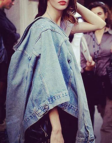 Autunno Battercake Uomo Moda Donne Button Festiva Manica Denim Primaverile Eleganti Tasche Casuale Giacche Lunga Giaccone Con Cappotto Donna Outerwear Blau Jeans Fidanzato YtwSrYq