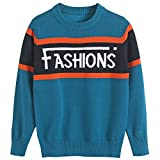 BYCR Boys' Elastic Sweatshirts Pullover Sweater Long Sleeve Loose Tops Blouse (Blue, 130 (US Size 6-7))