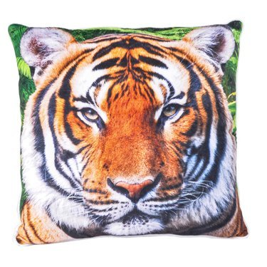 Printed Plush Tiger Pillow