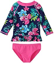 HUAANIUE Baby/Toddler Girls Swimsuit Rashguard Set Long Sleeve UPF 50+