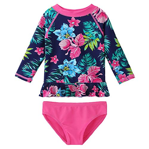 (HUANQIUE Baby/Toddler Girls Swimsuit Rashguard Set Flower Tankini Navy Flower 2-3 T)