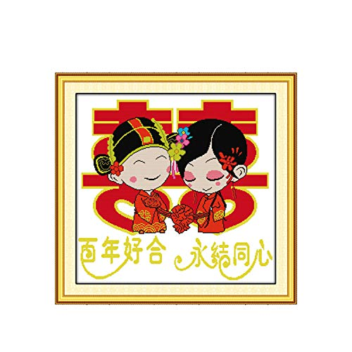 Love Forever Couple Wedding Painting Counted Printed On Canvas DMC 11CT14CT Chinese Cross Stitch Kits Embroidery Needlework Sets,11CT Unprinted
