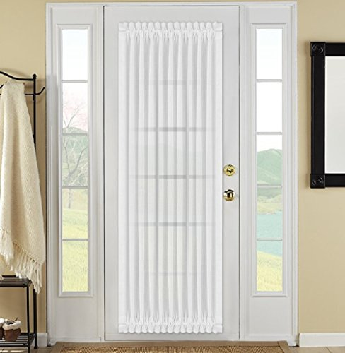 Best Dreamcity Faux Linen Rod Pocket Sheer Curtains With Bonus Tieback for French Door, Single Panel, 52