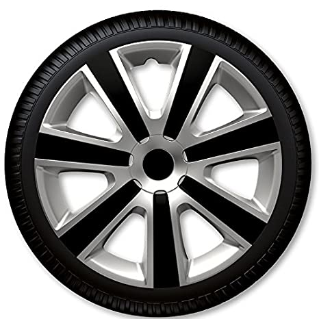 Wheel Trim Covers Set of 4 pcs. \' VR Silver & Black \' Caps (16\' inch) Górecki