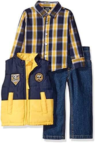 Baby Boys' Rock 3 Piece Puffy Vest Pants Set