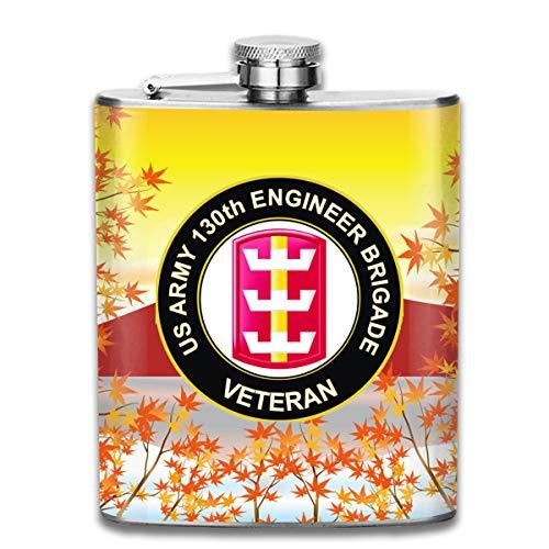 US Army 130th Engineer Brigade Veteran Hip Flask Pocket Stainless Steel Flask,7 Oz ()