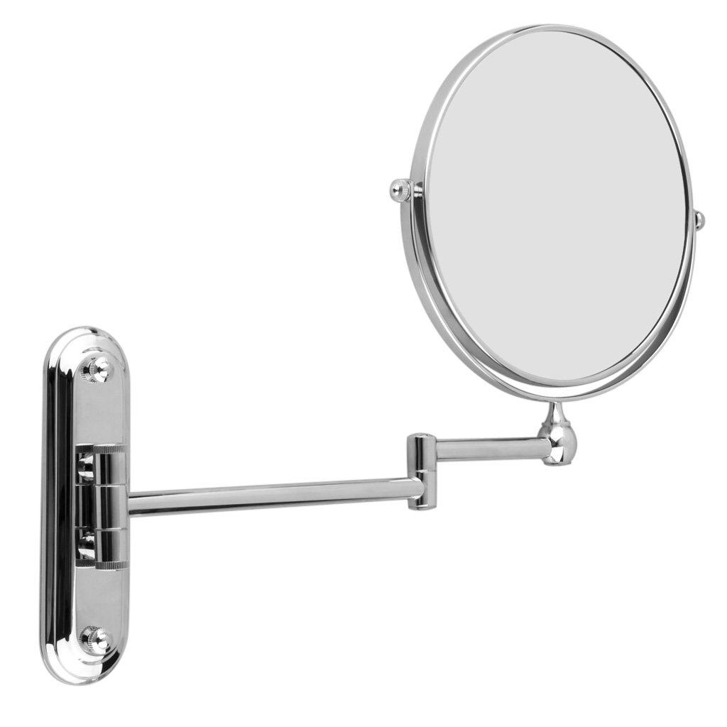 Finether Specchio cosmetico magnetico, per rasatura e trucco, con braccio pieghevole, montaggio a parete, da bagno, girevole a 360°, doppio 5-fach Vergrößerung Chrom girevole a 360°