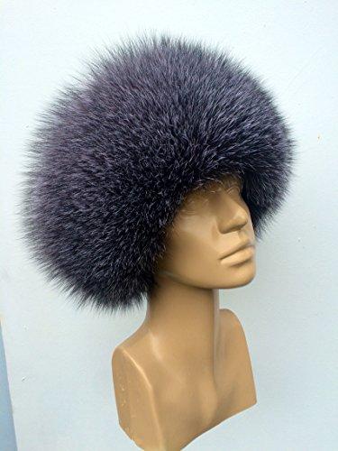 Blue Frost Fox Fur Full Hat with Sheared Beaver Top Saga Furs