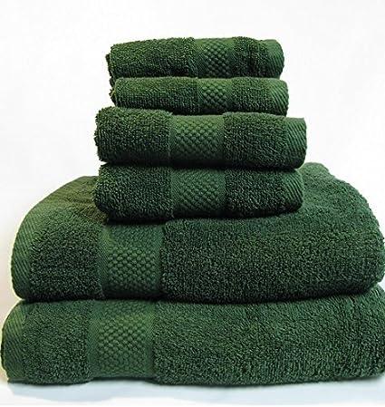Coton Drap Serviettes Vert chasseur 6//Pack