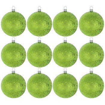 lime green glitter ball ornaments christmas tree decorations 12 ct - Lime Green Christmas Tree Decorations