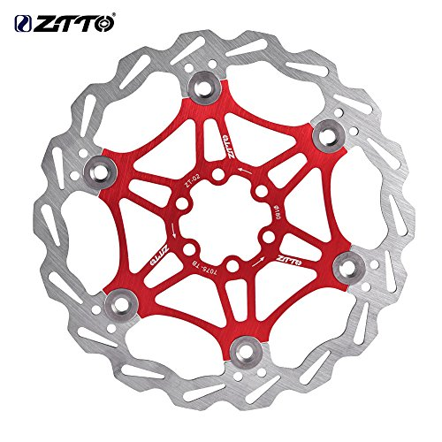 Bike Floating Disc Brake Pad, 180mm MTB Bike Cycling Bicycle Brake Pad Rotors(Red)