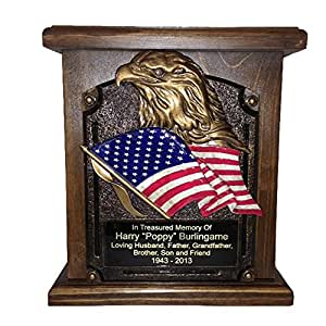 American Flag and Eagle Cremation Urn, Wood Funeral Urns w/ Engraving