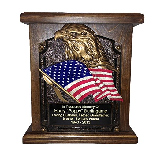 American Flag and Eagle Cremation Urn, Wood Funeral Urns w Engraving