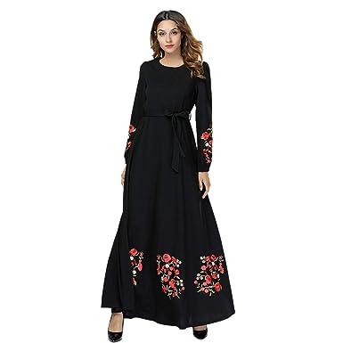 Vestiti Eleganti Neri.Cikuso Donne Abito Elegante Abito Lungo Musulmano Fiori Ricamati