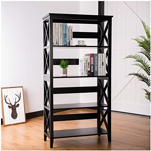 Glitzhome 5-Tier Open Espresso Bookshelf Traditional X-Frame Storage Bookcase