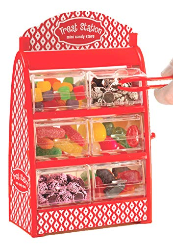 - Mini Candy Drawer Dispenser - Holds Gumball Jellybean Small Candy with 6 Drawers Tongs And Treat Bags - Treat Station Candy Holder Party Supplies For Kids