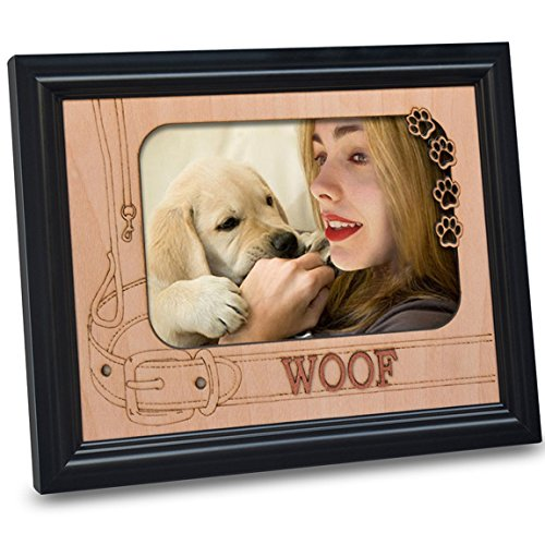 Black Dog Photo - PETAFLOP Dog Picture Frames 4 x 6 with Engraved WOOF and Paw Prints Dog Themed Photo Frames