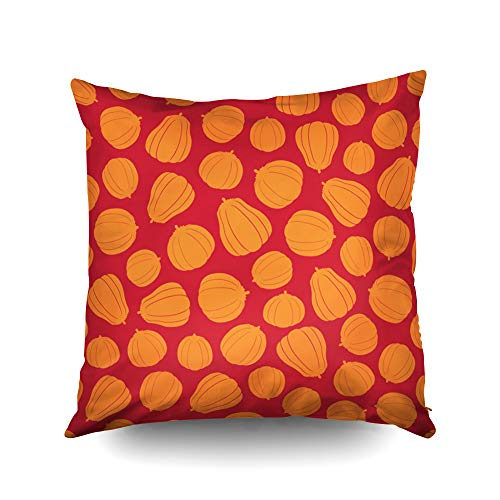 Capsceoll Halloween Pattern Silhouettes Pumpkins Decorative Throw Pillow Case 18X18Inch,Home Decoration Pillowcase Zippered Pillow Covers Cushion Cover with Words for Book Lover Worm Sofa Couch