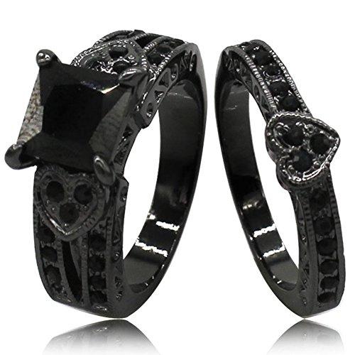 Jude Jewelers Black Rhodium Plated Princess Cut Heart Shape Wedding Engagement Ring (Black, - Shape Rhodium Plated Ring Heart