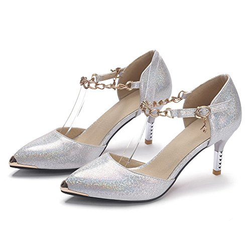 AmoonyFashion Womens Buckle Spikes Stilettos Pu Solid Pointed Closed Toe Pumps Shoes White CXtz8uacc