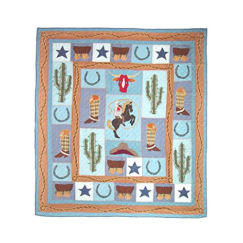 Cowboy Twin Quilt (Patch Magic Twin Cowboy Quilt, 65-Inch by 85-Inch)