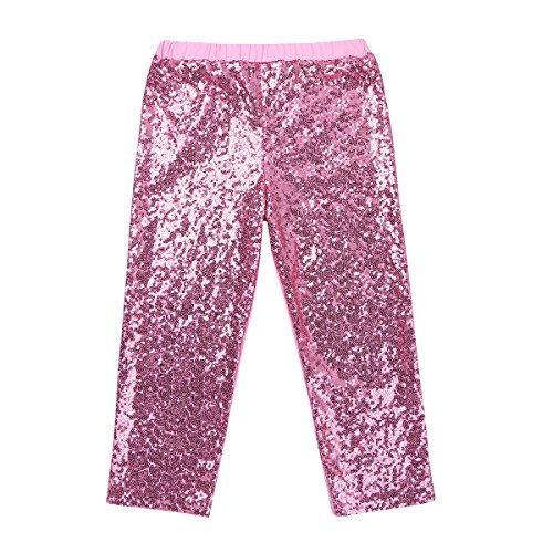 Fancy Pants Glitter - YiZYiF Girls Sparkle Sequins Long Pants Leggings Kids Shiny Clothes For Fancy Party or Dancing Pink 6T