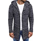 Mens Cardigan Sweater Shawl Collar Open Front Long Sleeve Knit Slim Fit Vintage Coat Pockets (M, Dark Gray)