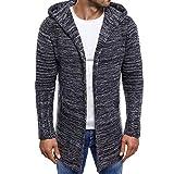 Realdo Mens Knitted Long Cardigan, Fashion Men's Knit Trench Coat Jacket Outwear