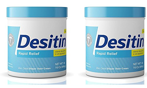DESITIN UaJDNH Rapid Relief Zinc Oxide Diaper Rash Cream, 16 Ounce (2 Pack) by Desitin